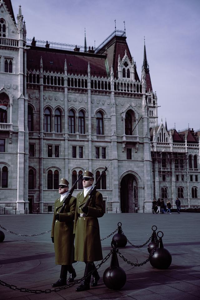 Gardes devant le parlement hongrois de Budapest